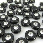Knapp svart med rhinestone